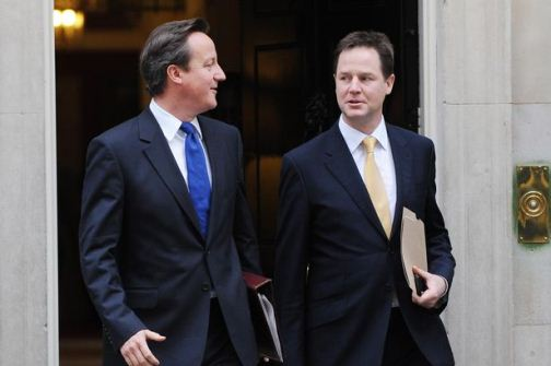 David Cameron and Nick Clegg -coalition- roads, rail and housing at heart