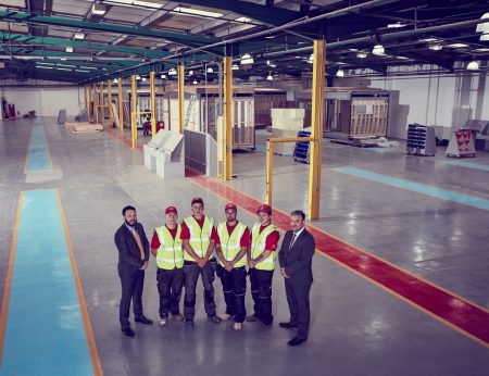 Pictured at modular building specialist, Actavo's new 120,000 sq ft manufacturing facility in Hull were (left-right): Matthew Goff (Operations Director), Jordan Hunt, Matt Bielby, Nathan Malek, Aaron Parks and John Bartram (Manufacturing Director). The facility, which sees the creation of over 30 new jobs, was formally opened on July 5th by Lord Mayor of Hull, Cllr John Hewitt. Photography: Paul Painter.