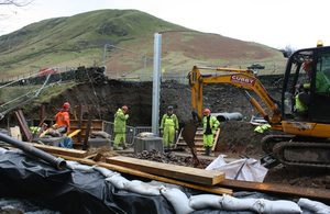 Construction Work To Repair The A591 in Cumbria: First of A591's New Steel Posts Lifted into Place