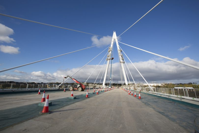 New Wear Crossing Cables Tensioned To 100% And Bridge Deck In Place