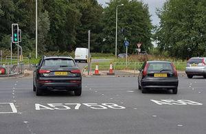 New smart road lights prevent lane drifting at motorway junction