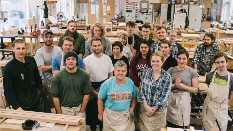 Building Crafts College Students use American Red Oak for The Useful Table Project